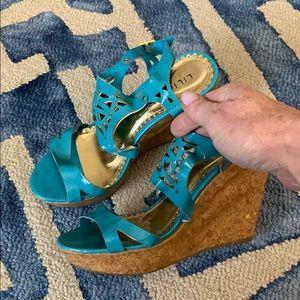 Liliana turquoise wedge shoes